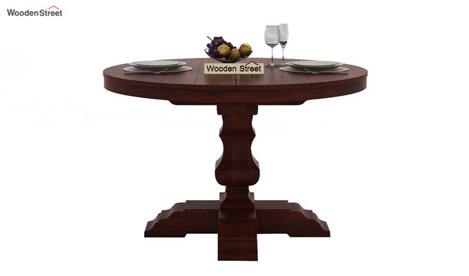 Darren 4 Seater Round Dining Set (Mahogany Finish)-4