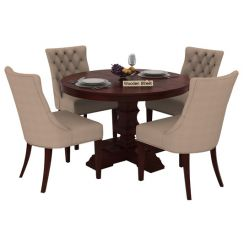 Darren 4 Seater Round Dining Set (Mahogany Finish)