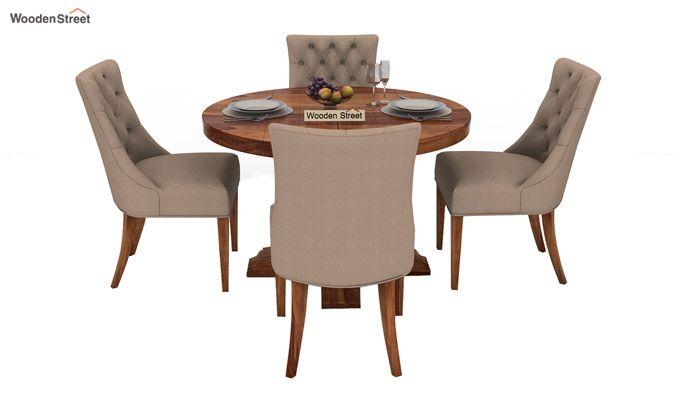 Darren 4 Seater Round Dining Set (Teak Finish)-2