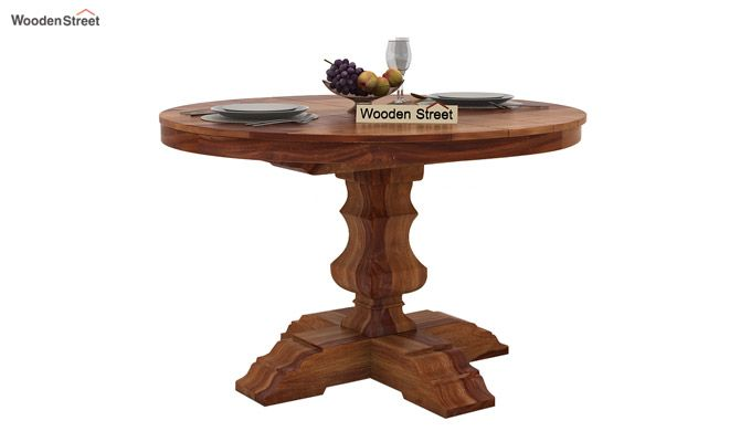Darren 4 Seater Round Dining Set (Teak Finish)-3
