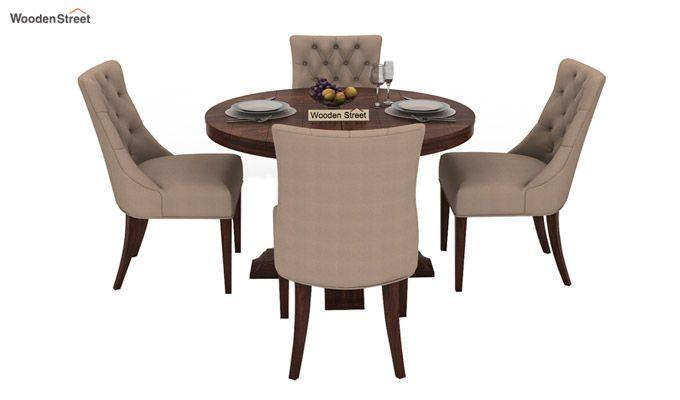 Darren 4 Seater Round Dining Set (Walnut Finish)-3