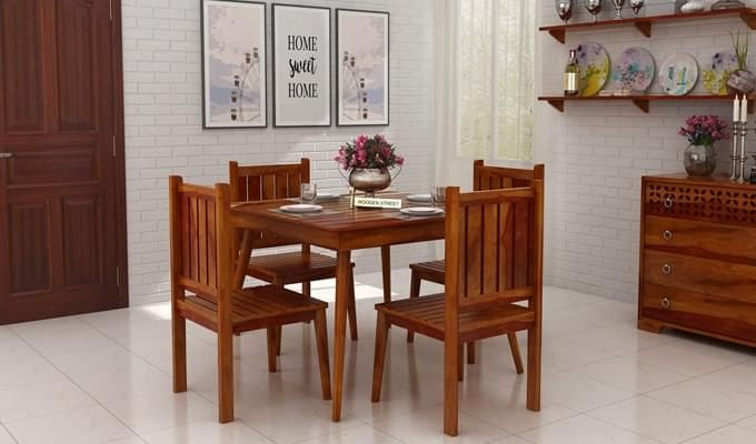 Dawson 4 Seater Dining Set (Honey Finish)-1