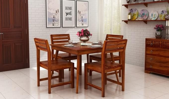 Edgar 4 Seater Dining Set (Honey Finish)-1