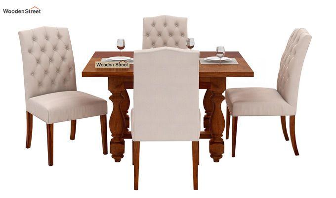 Elance 4 Seater Dinning Set (Honey Finish)-2