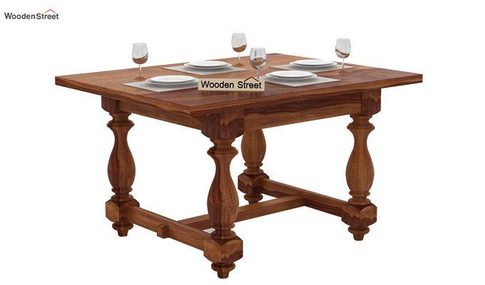 Elance 4 Seater Dinning Set (Teak Finish)-3