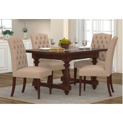 Elance 4 Seater Dinning Set (Walnut Finish)
