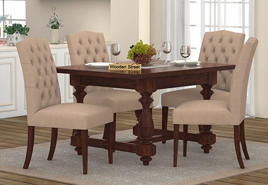 Elance 4 Seater Dinning Set (Walnut Finish)