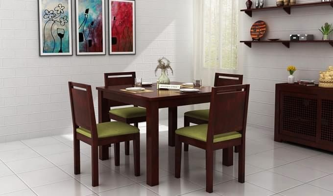 Orson 4 Seater Dining Set (Mahogany Finish)-1