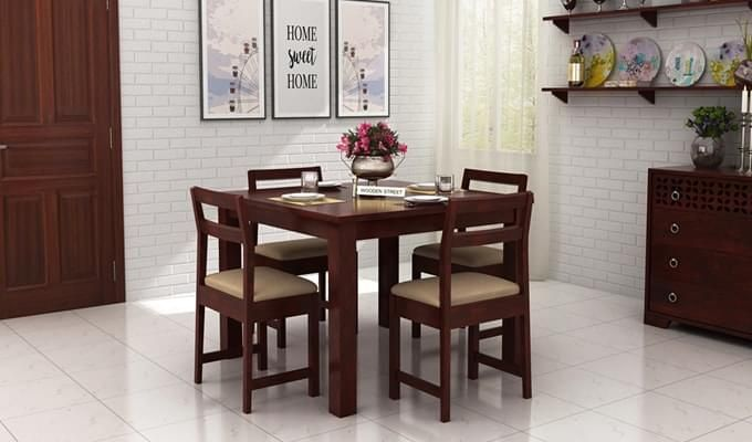 Fidel 4 Seater Dining Set (Mahogany Finish)-1