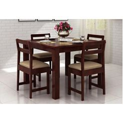 Fidel 4 Seater Dining Set (Mahogany Finish)