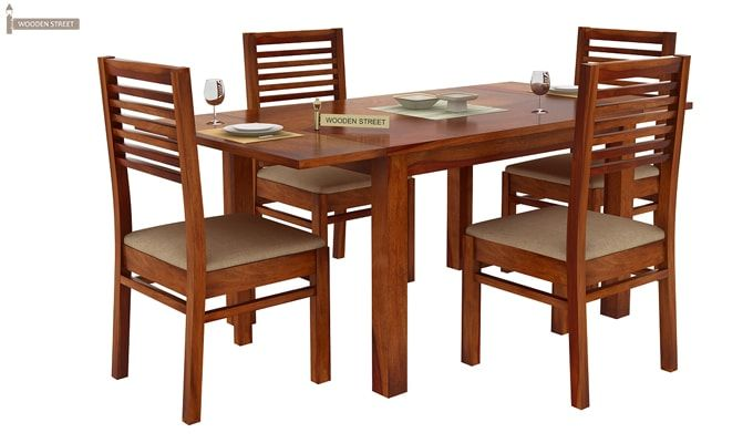 Florin 4 Seater Dining Table With Chairs (Honey Finish)-2