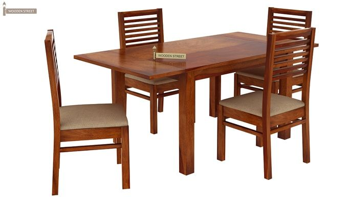 Florin 4 Seater Dining Table With Chairs (Honey Finish)-3