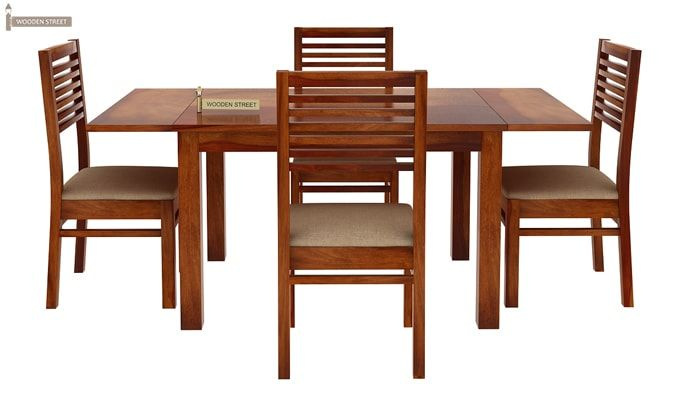 Florin 4 Seater Dining Table With Chairs (Honey Finish)-4