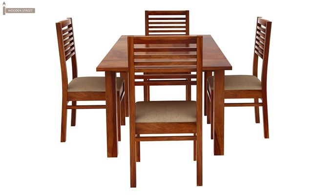 Florin 4 Seater Dining Table With Chairs (Honey Finish)-5