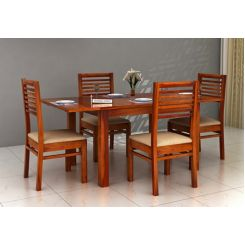 Florin 4 Seater Dining Table With Chairs (Honey Finish)