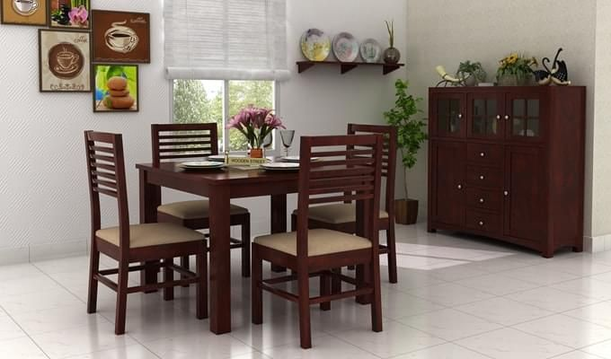 Darcel 4 Seater Dining Set (Mahogany Finish)-1