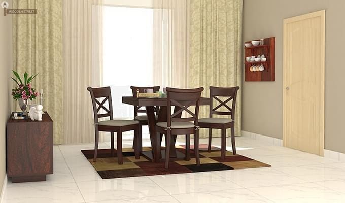 Garcia 4 Seater Dining Set X-legs (Walnut Finish)-1