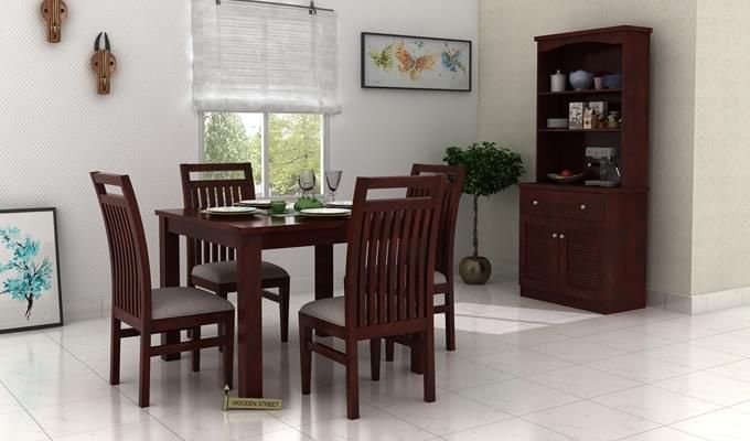 Hasbro 4 Seater Dining Set (Mahogany Finish)-1