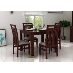 Hasbro 4 Seater Dining Set (Mahogany Finish)