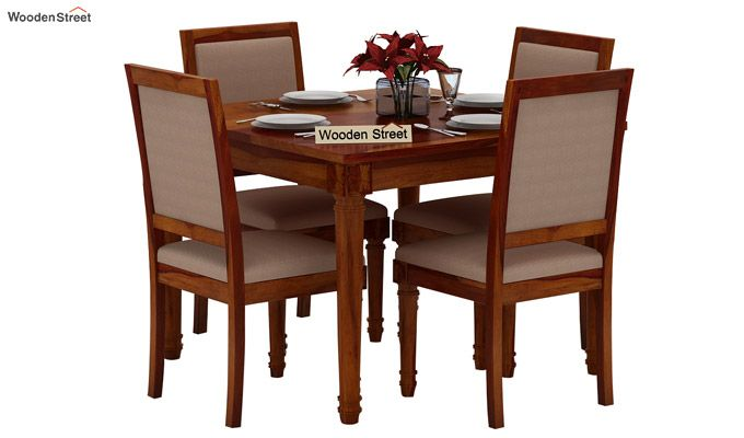 Henson 4 Seater Dining Set (Honey Finish)-1