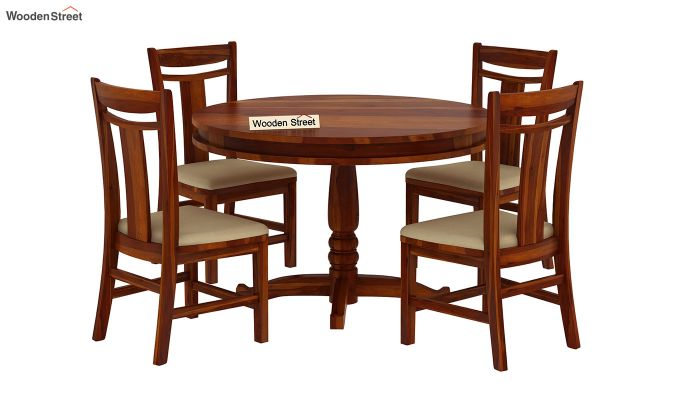 Isadora 4 Seater Round Dining Set (Honey Finish)-2