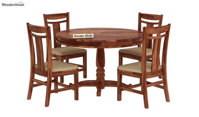 Isadora 4 Seater Round Dining Set (Teak Finish)-2