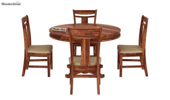 Isadora 4 Seater Round Dining Set (Teak Finish)-3