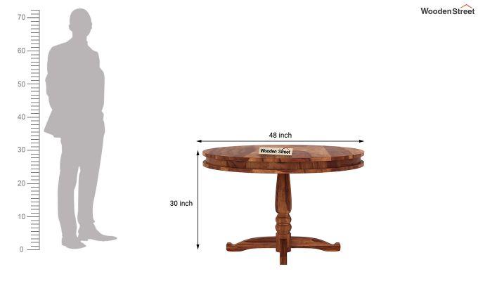 Isadora 4 Seater Round Dining Set (Teak Finish)-8