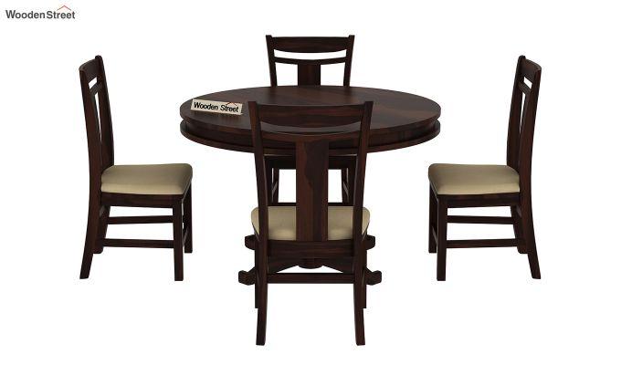 Isadora 4 Seater Round Dining Set (Walnut Finish)-3