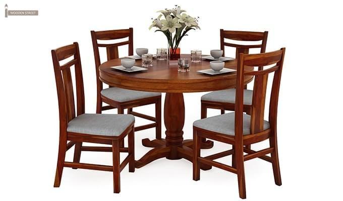 Isadora 4 Seater Round Dining Set (Honey Finish)-1