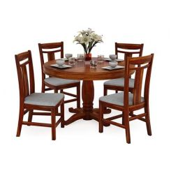 Isadora 4 Seater Round Dining Set (Honey Finish)