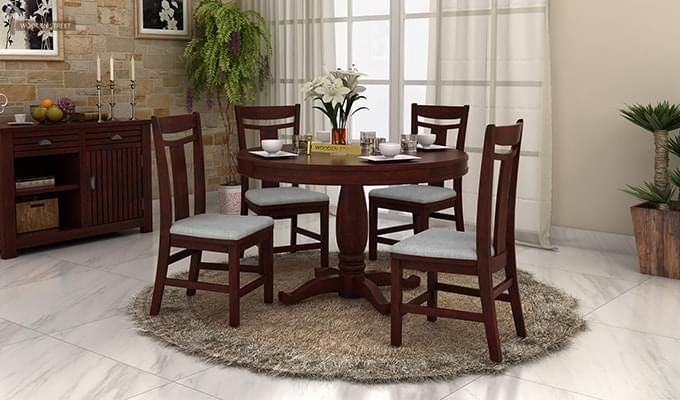 Isadora 4 Seater Round Dining Set (Mahogany Finish)-1