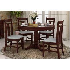 Isadora 4 Seater Round Dining Set (Mahogany Finish)