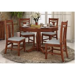 Isadora 4 Seater Round Dining Set (Teak Finish)