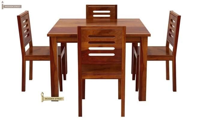 Janet 4 Seater Dining Table Set (Honey Finish)-2