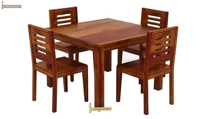 Janet 4 Seater Dining Table Set (Honey Finish)-1