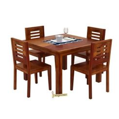 Janet 4 Seater Dining Table Set (Honey Finish)