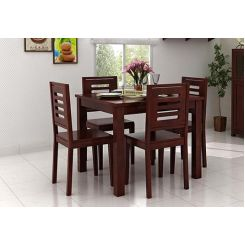 Janet 4 Seater Dining Table Set (Mahogany Finish)