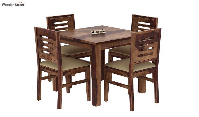 Janet Cushioned 4 Seater Dining Table Set (Teak Finish)-2