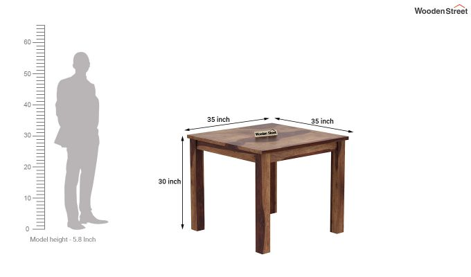 Janet Cushioned 4 Seater Dining Table Set (Teak Finish)-8