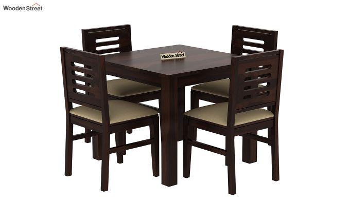 Janet Cushioned 4 Seater Dining Table Set (Walnut Finish)-2