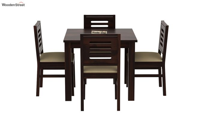 Janet Cushioned 4 Seater Dining Table Set (Walnut Finish)-3
