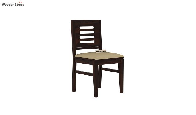 Janet Cushioned 4 Seater Dining Table Set (Walnut Finish)-6