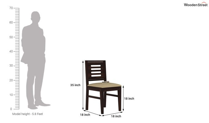 Janet Cushioned 4 Seater Dining Table Set (Walnut Finish)-9