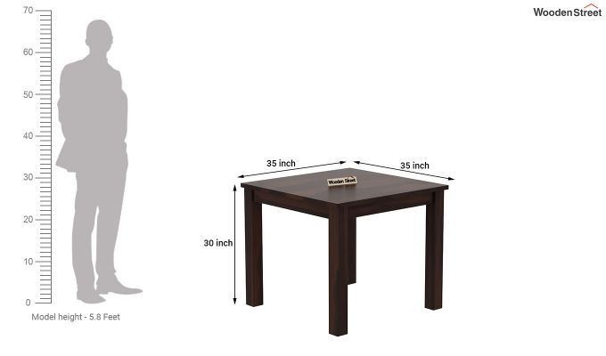 Janet Cushioned 4 Seater Dining Table Set (Walnut Finish)-8