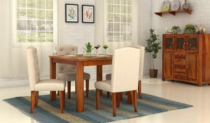 Jeor 4 Seater Dining Set (Honey Finish)-1
