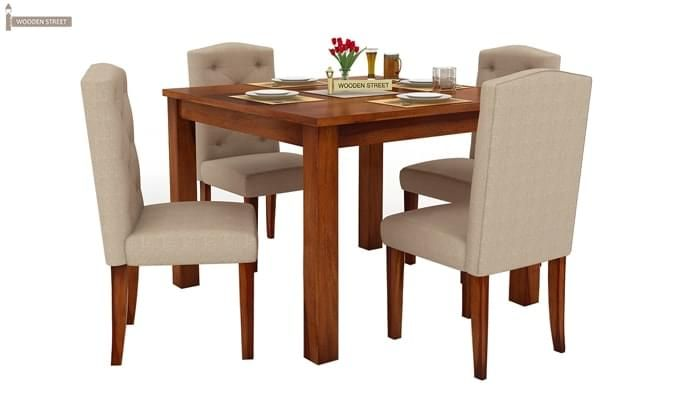 Jeor 4 Seater Dining Set (Honey Finish)-2