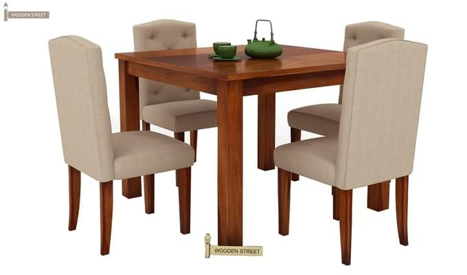 Jeor 4 Seater Dining Set (Honey Finish)-3