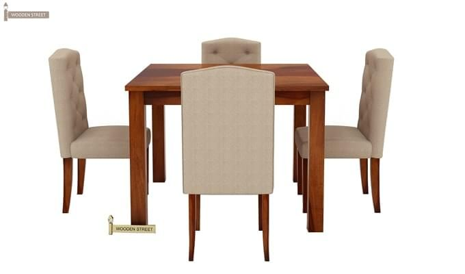 Jeor 4 Seater Dining Set (Honey Finish)-4