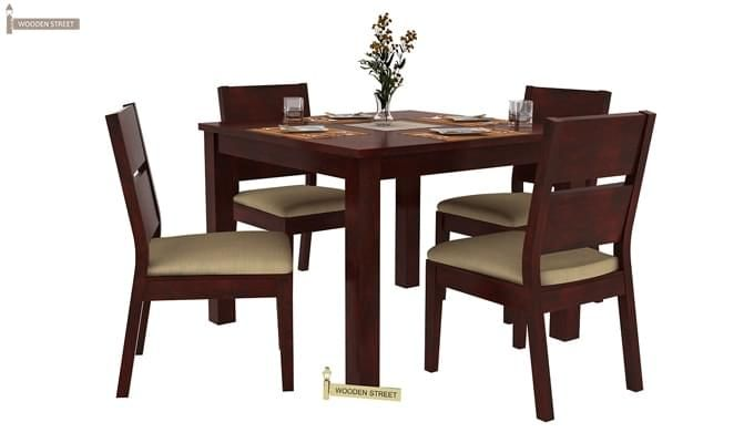 Kietel 4 Seater Dining Set (Mahogany Finish)-2
